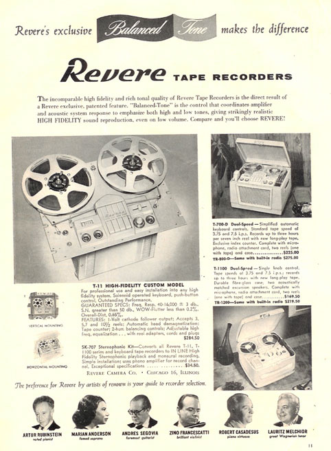 1958 ad for Revere reel tape recorders featuring Artur Rubinstein, Marian Anderson, Andres Segovia, Zino Francescatti, Robert Casadesus and Lauritz Melchoir  in PPI's vintage tape recorder collection