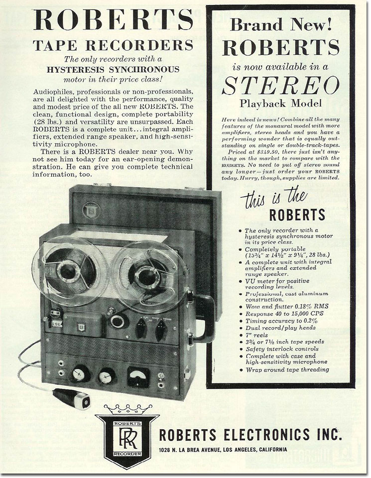 1958 Roberts stereo reel tape recorder  ad in Reel2ReelTexas.com's vintage reel tape recorder collection