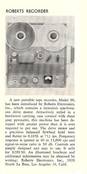1958 review of the Roberts tape recorder in   Reel2ReelTexas.com's vintage reel tape recorder collection