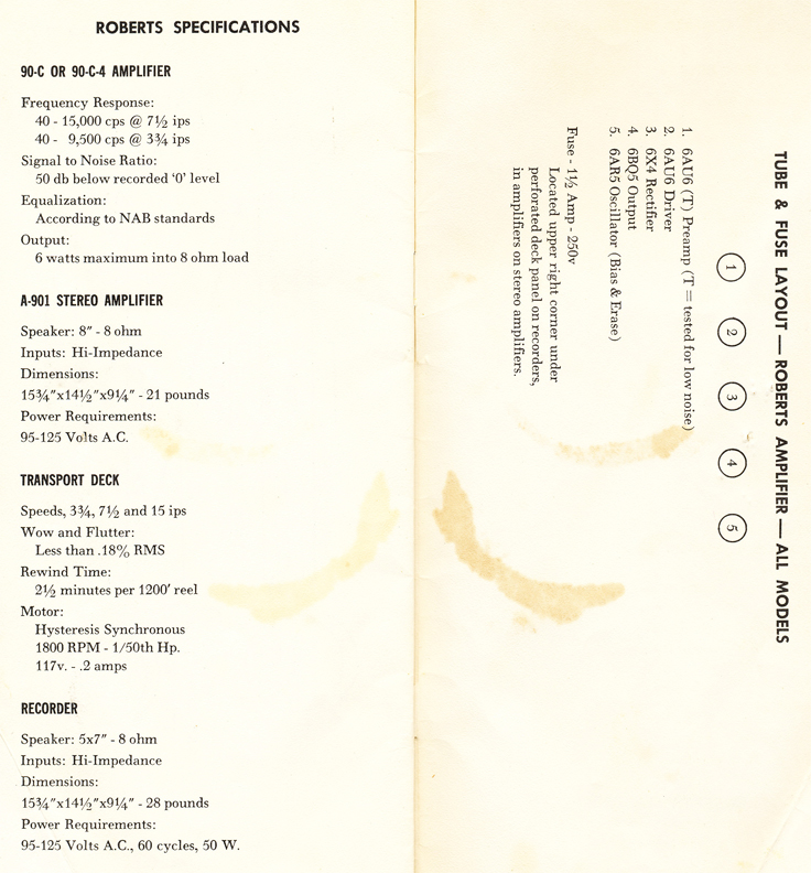 1958 Roberts 90C brochure showing specifications in Reel2ReelTexas' vintage tape recorder collection