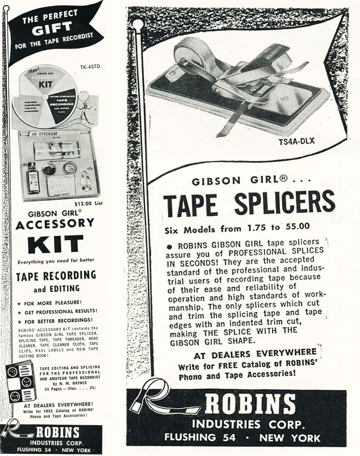 1958 ad for Robins reel tape recording accessories in Reel2ReelTexas.com's vintage recording collection