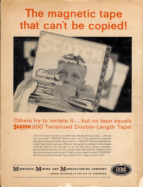 1958 Scotch recording tape ad in PPI's vintage recording collection