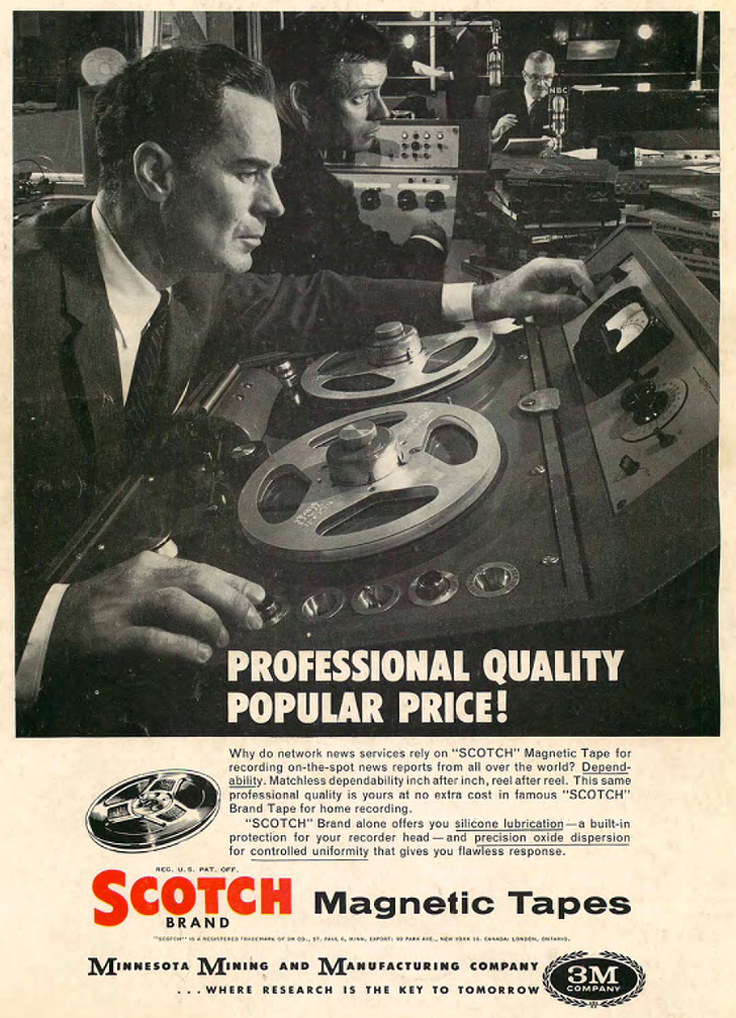 1958 3M Scotch recording tape ad featuring the Ampex 351 reel to reel tape recorder in Reel2ReelTexas.com's vintage recording collection