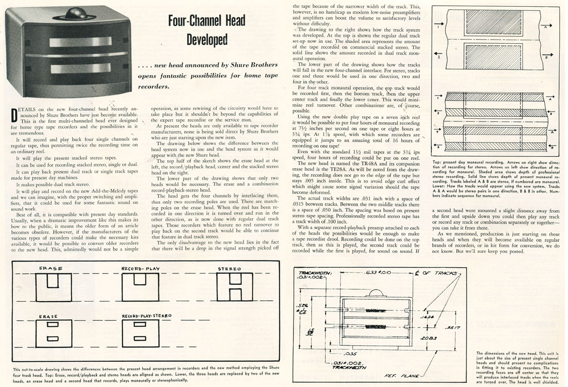 1958 article describing the new Shure 4 track recording head in Reel2ReelTexas.com's vintage recording collection