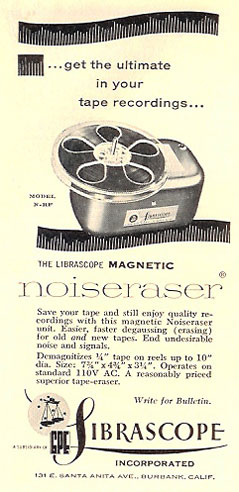 ad for Sibrascope bulk eraser in PPI's vintage tape recorder collection