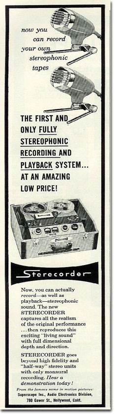 1958 Sony 555-A reel tape recorder ad in the Reel2ReelTexas.com's vintage recording collection