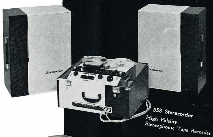 1958 picture of Sony 533 in Sony brochure in Phantom Productions's vintage recording collection.