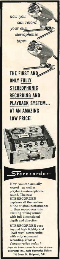 1958 ad showing the Sony 533 reel to reel tape recorder in the Reel2ReelTexas.com's vintage recording collection
