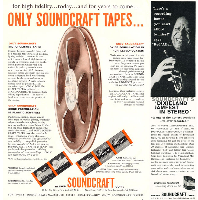 1958 ad for Soundcraft recording tape in PPI's vintage tape recorder collection