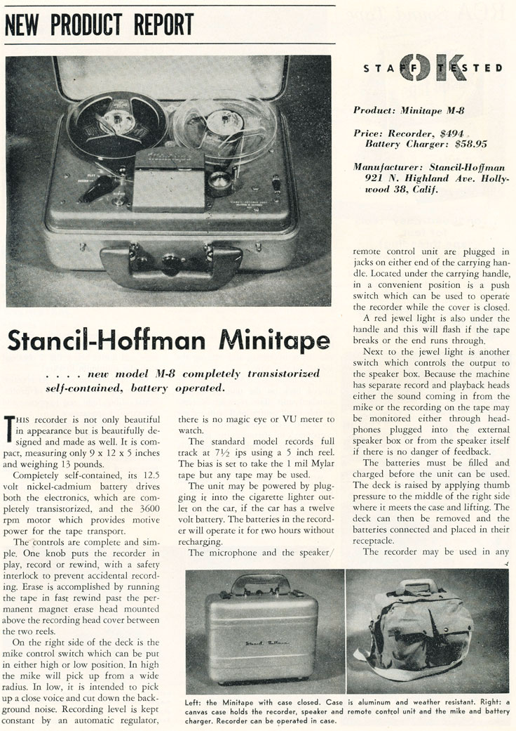 1958 review of the Stancil-Hoffman Minitape reel to reel tape recorder in Reel2ReelTexas.com's vintage recording collection