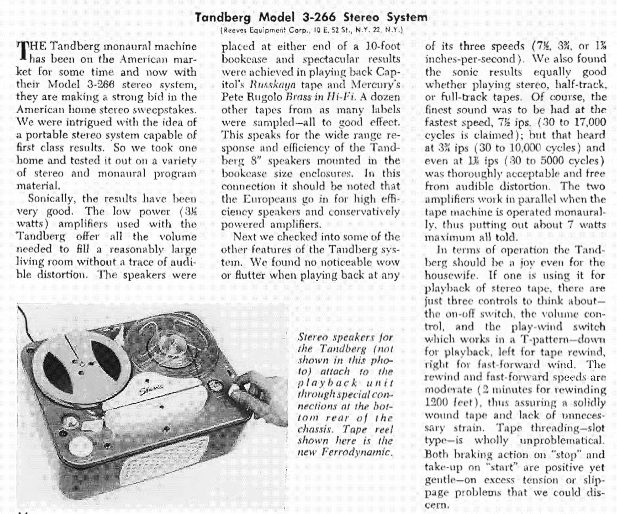 1958 Tandberg tape recorder review in PPI's reel to reel tape recorder collection