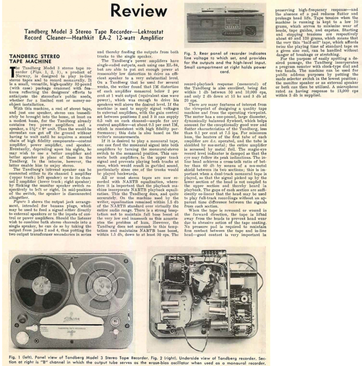1958 review of the Tandberg Model 3 reel to reel tape recorder in Reel2ReelTexas.com's vintage recording collection