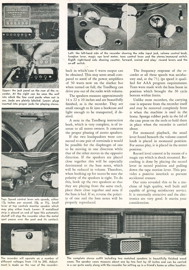 Part 2 of the 1958 review of the Tandberg Model 3 reel to reel tape recorder in Reel2ReelTexas.com's vintage recording collection