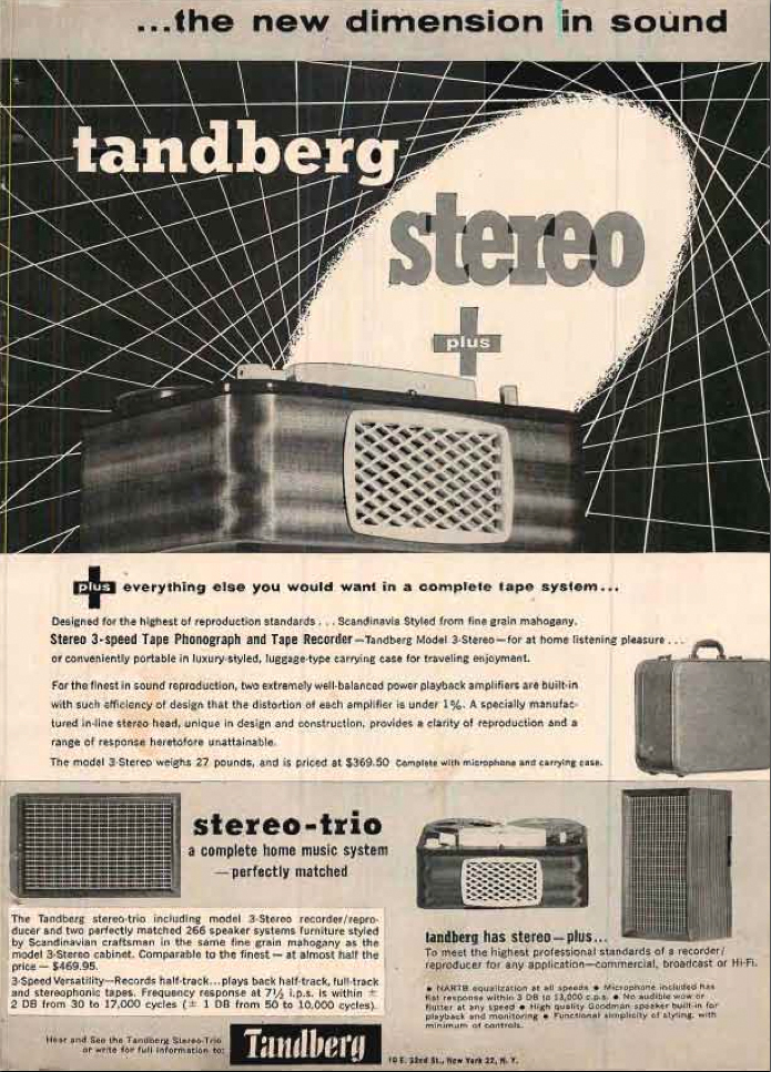 1958 Tandberg tape recorder ad in PPI's reel to reel tape recorder collection