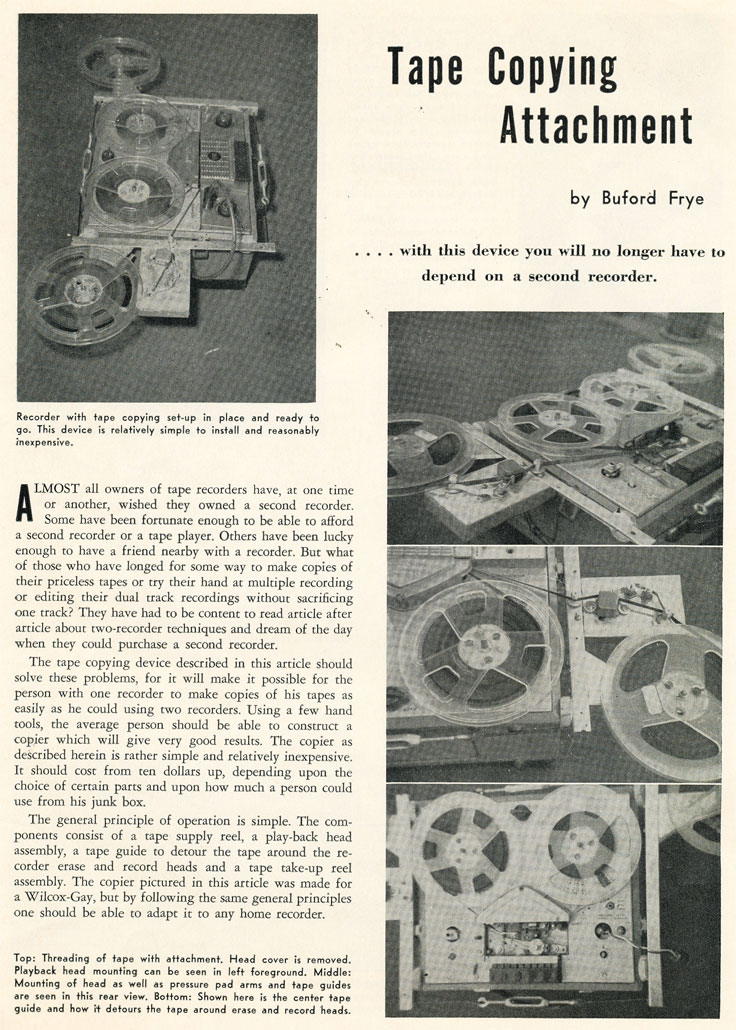 1958 Tape copy attachment article in Reel2ReelTexas.com's vintage recording collection