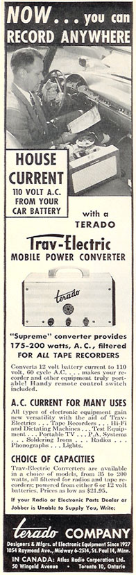 ad for Terado in PPI's vintage tape recorder collection