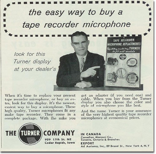 1958 Turner tape recorder microphone ad