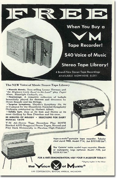 1958 Voice of Music reel tape recorder ad