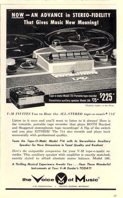 ad for 1958 Voice of Music recorder in PPI's vintage tape recorder collection