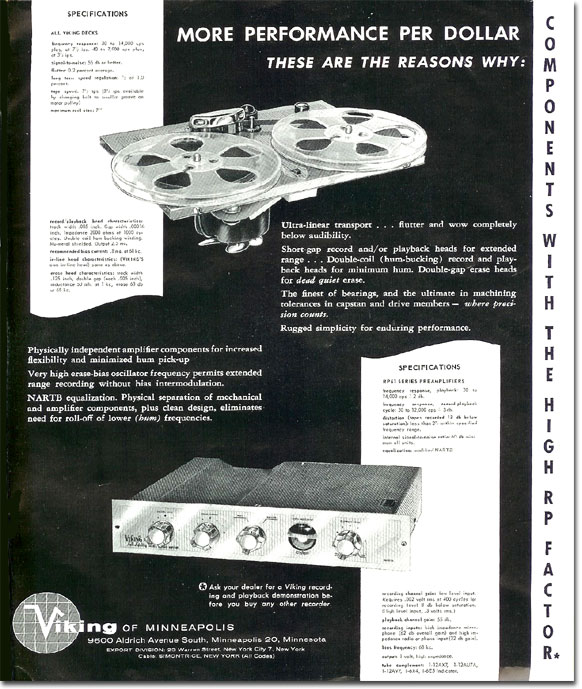 1958 Viking tape recorder ad in the Reel2ReelTexas.com's vintage recording collection