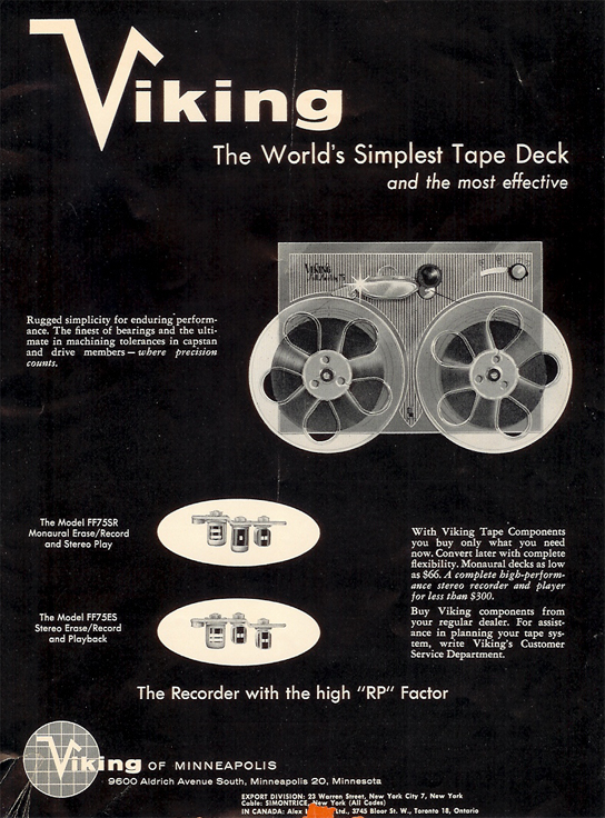 1958 Viking tape recorder ad in PPI's vintage recording collection