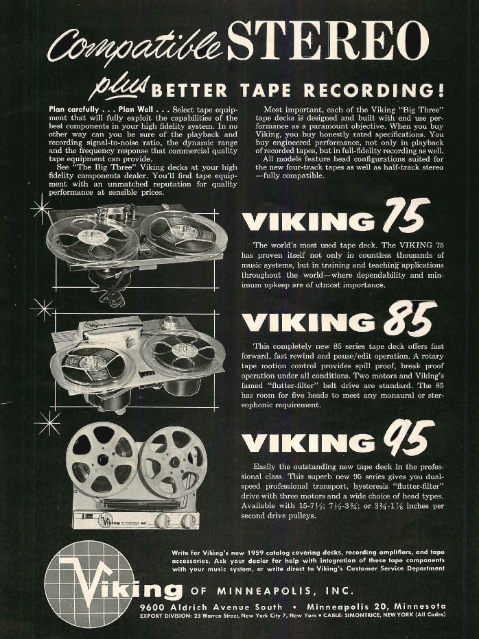 1958 brochure of the Viking 75, 85 and 95 reel to reel tape recorders in the Reel2ReelTexas.com's vintage recording collection