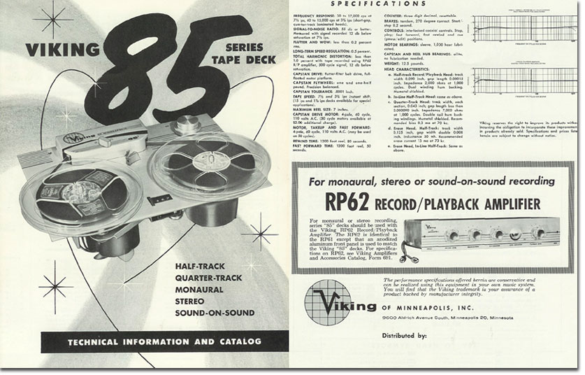 1958 brochure of the Viking 85 reel to reel tape recorder in the Reel2ReelTexas.com's vintage recording collection