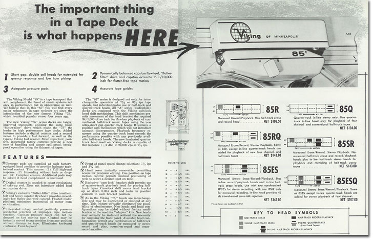 1958 brochure of Viking 85 Tape recorder in the   Reel2ReelTexas.com's vintage recording collection