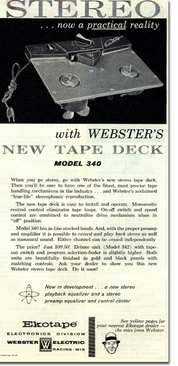 1958 Webcor tape recorder ad