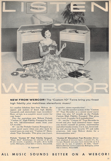 1958 Webcor tape recorder ad in PPI's reel to reel tape recorder collection