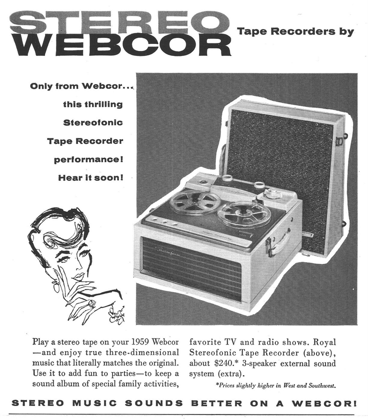 1958 Webcor Royal reel to reel tape recorder ad in PPI's reel to reel tape recorder collection