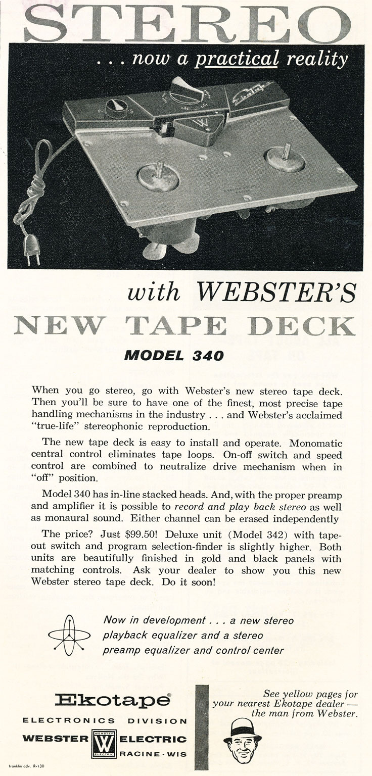 1958 Webster Ekotape reel to reel tape recorder ad in Reel2ReelTexas' vintage recording collection