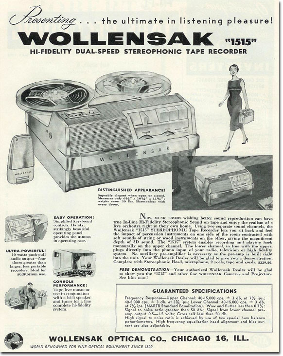 1958 Wollensak tape recorder ad