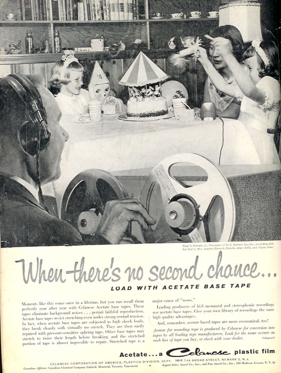 1959 Ad for Acetate recording tape in Reel2ReelTexas.com vintage tape recorder collection