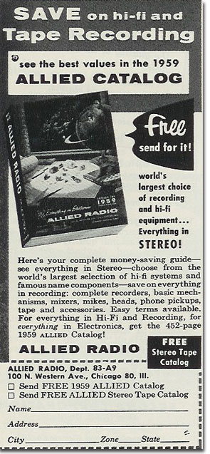 picture of Allied catalog ad from 1959 Tape Recording magazine