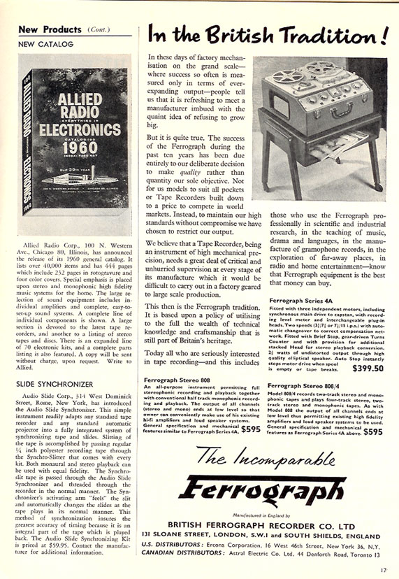 1959 Ad for the Allied Radio catalog and the Ferrograph tape recorder in Reel2ReelTexas.com vintage tape recorder collection