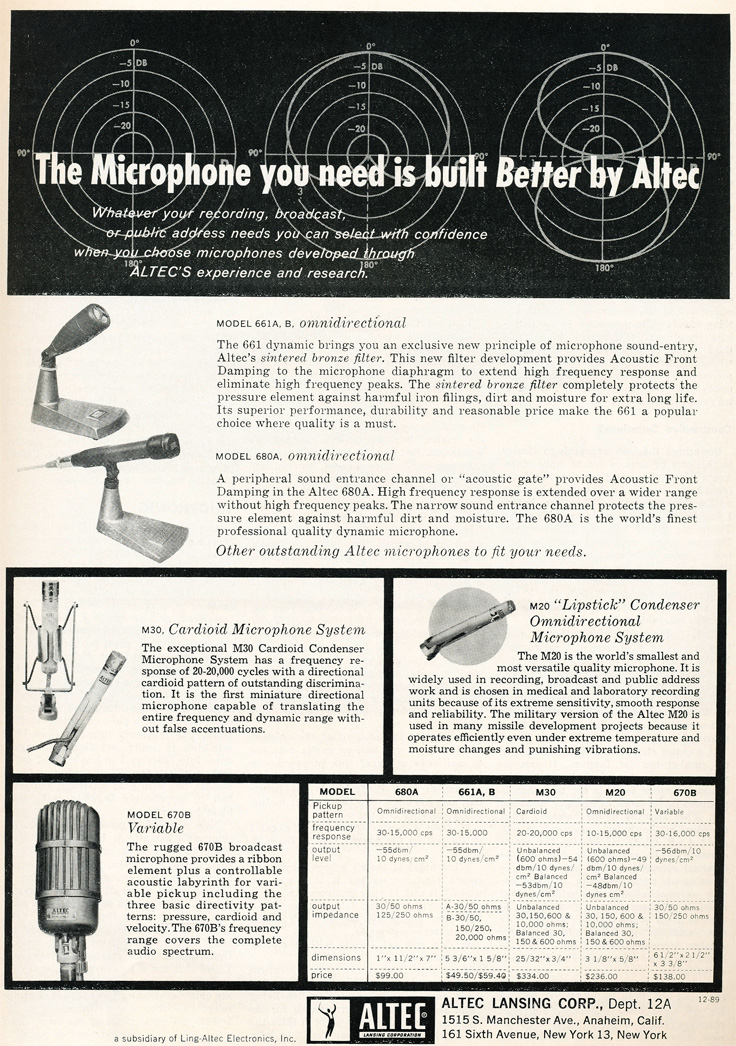 1959 ad for the Altec 661A, 680A, M30, 670B and the Altec M20 microphones in the Reel2ReelTexas.com's vintage recording collection
