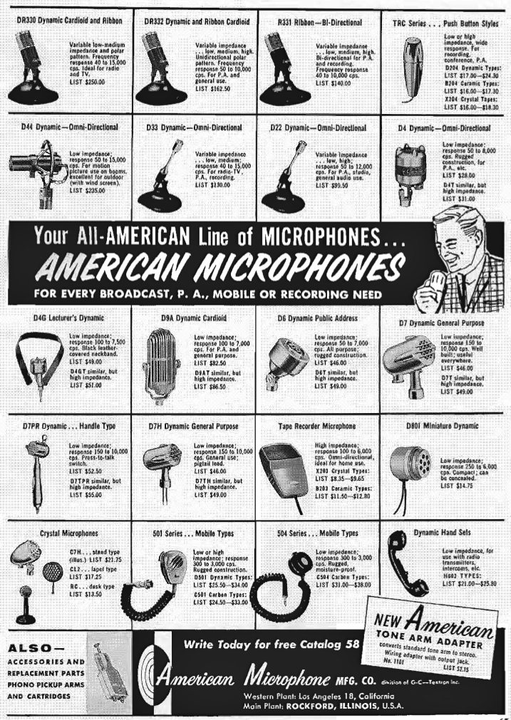 1959 ad for American microphones in   Reel2ReelTexas.com's vintage recording collection