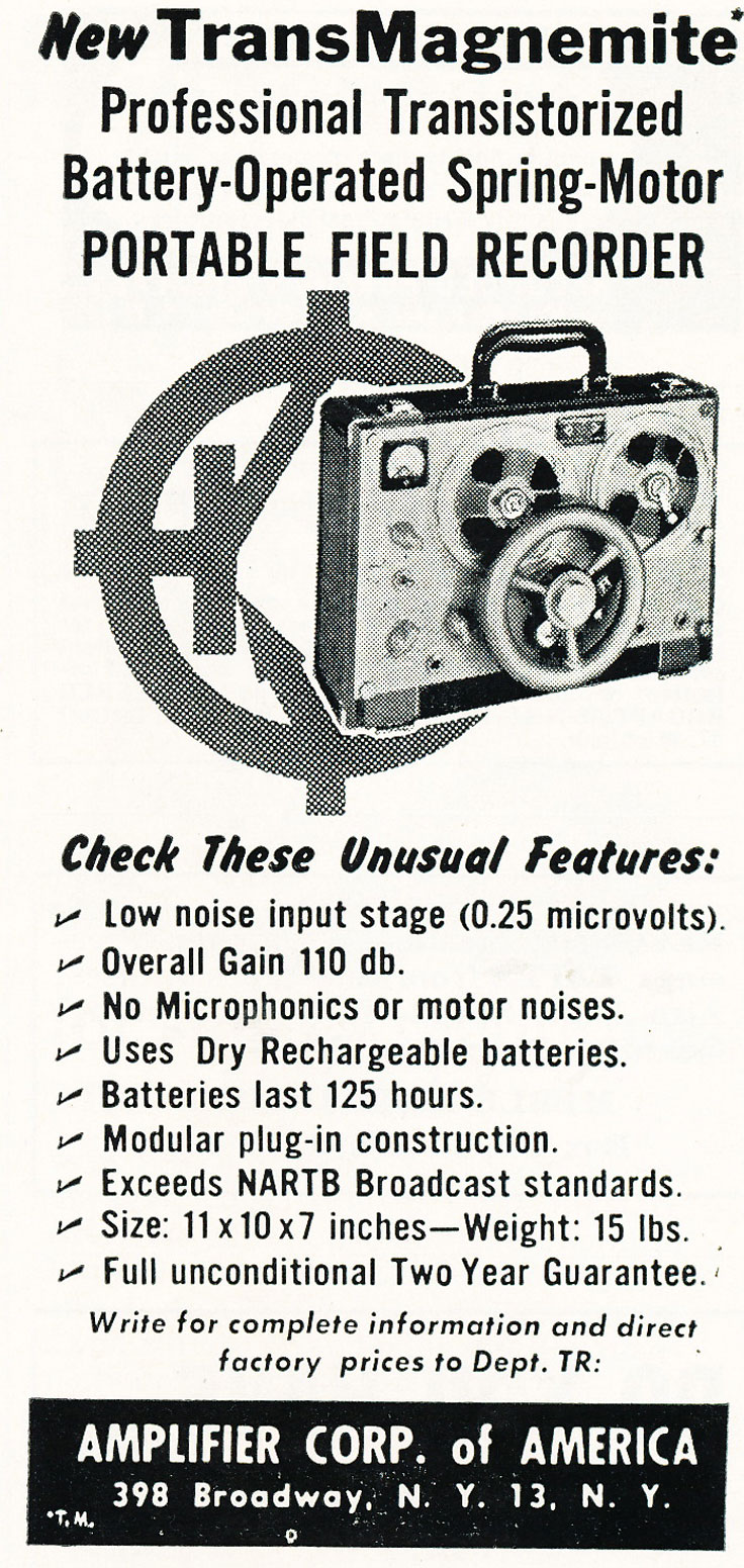 1959 ad for the Amplifier Corporation of America's Magnemite spring wound reel to reel tape recorder in Reel2ReelTexas' vintage recording collection