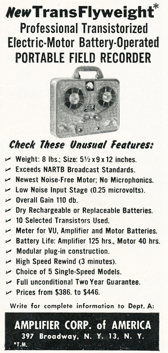 1959 Amplifier Corporation ad for the magnemite Flight Weight reel to reel tape recorder in   Phantom Productions vintage recording collection
