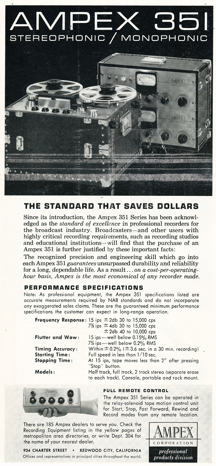 1959 ad for the Ampex 351 professional reel to reel tape recorder in Reel2ReelTexas.com's vintage recording collection