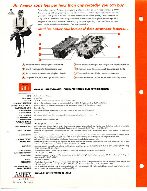 1959 Ampex 601 reel tape recorder brochure in Phantom Productioons' vintage reel tape recorder colection