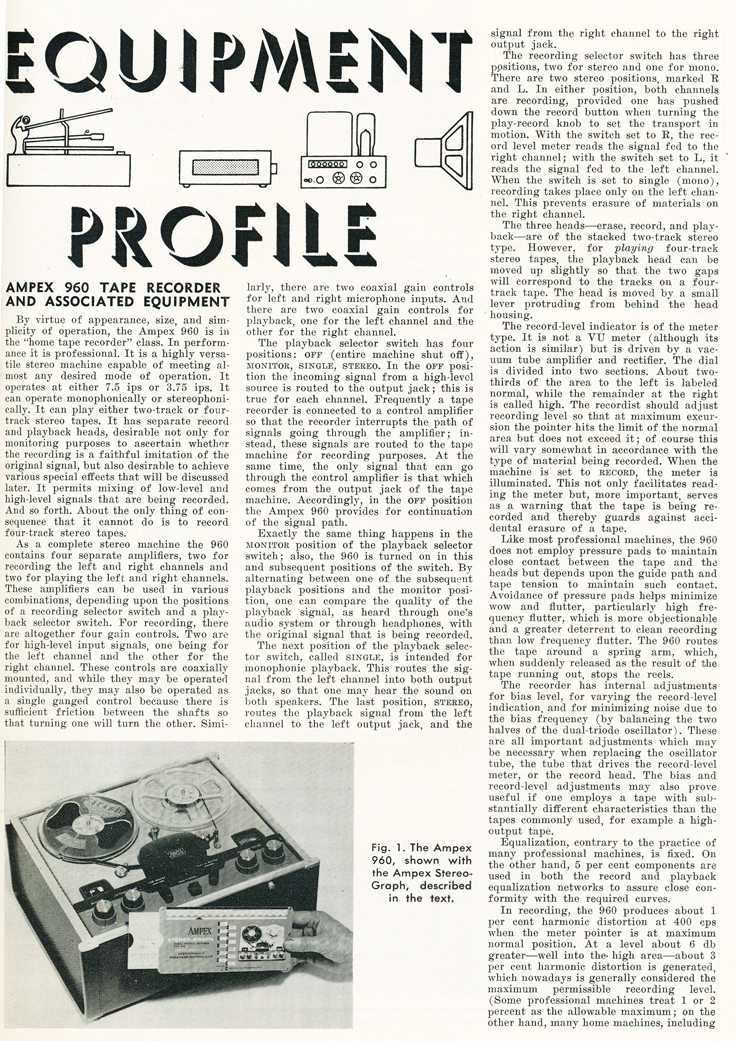 1959 review of the Ampex 960 professional reel tape recorder in Reel2ReelTexas.com's vintage recording collection