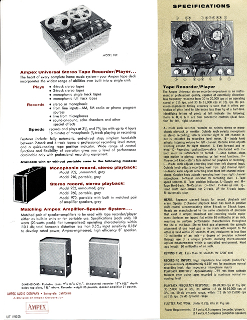 959 Ad for Ampex 960 reel tape recorder in Phantom Productions' vintage tape recorder co