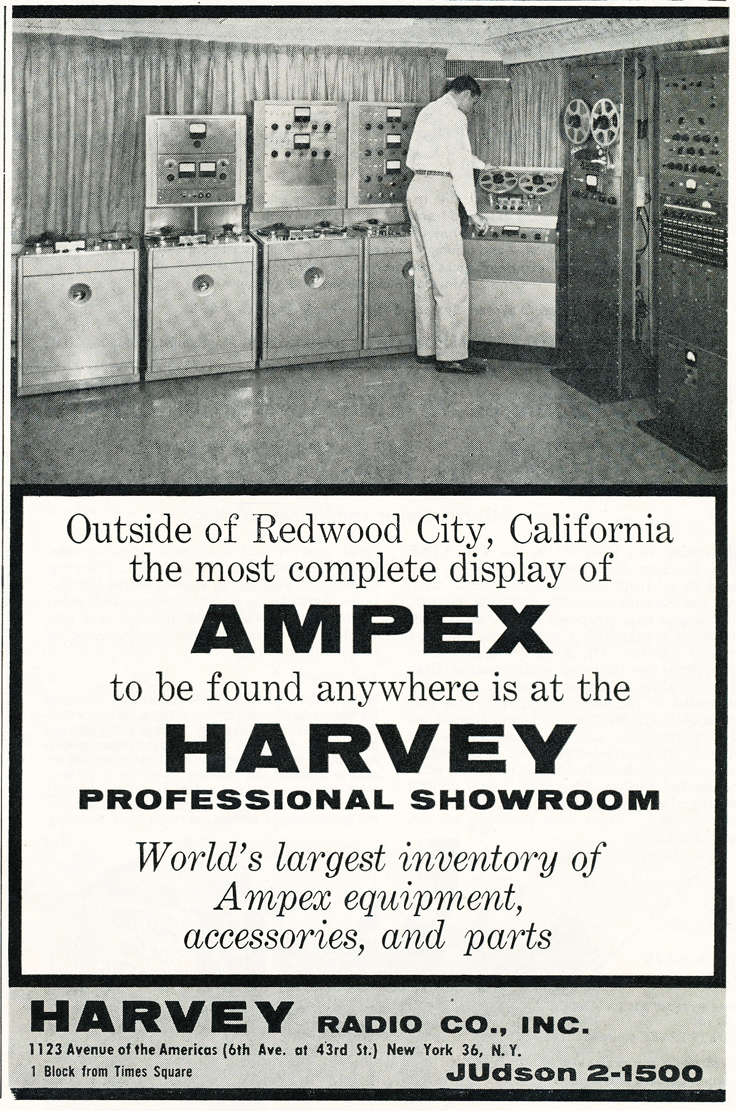 1959 article/ad showing the new Harvey Professional Audio Room
