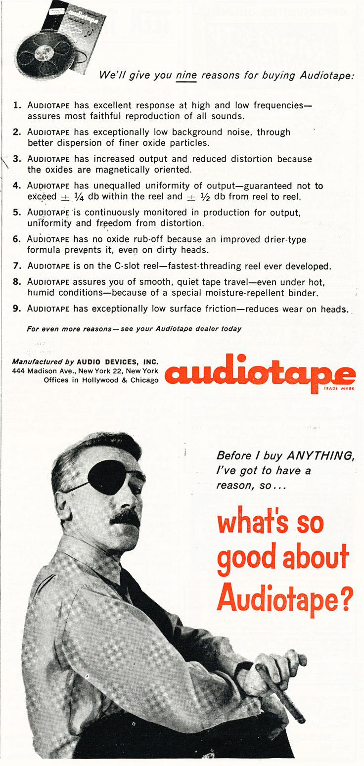 1959 ad for Audio Devices AudioTape in Reel2ReelTexas.com's vintage recording collection