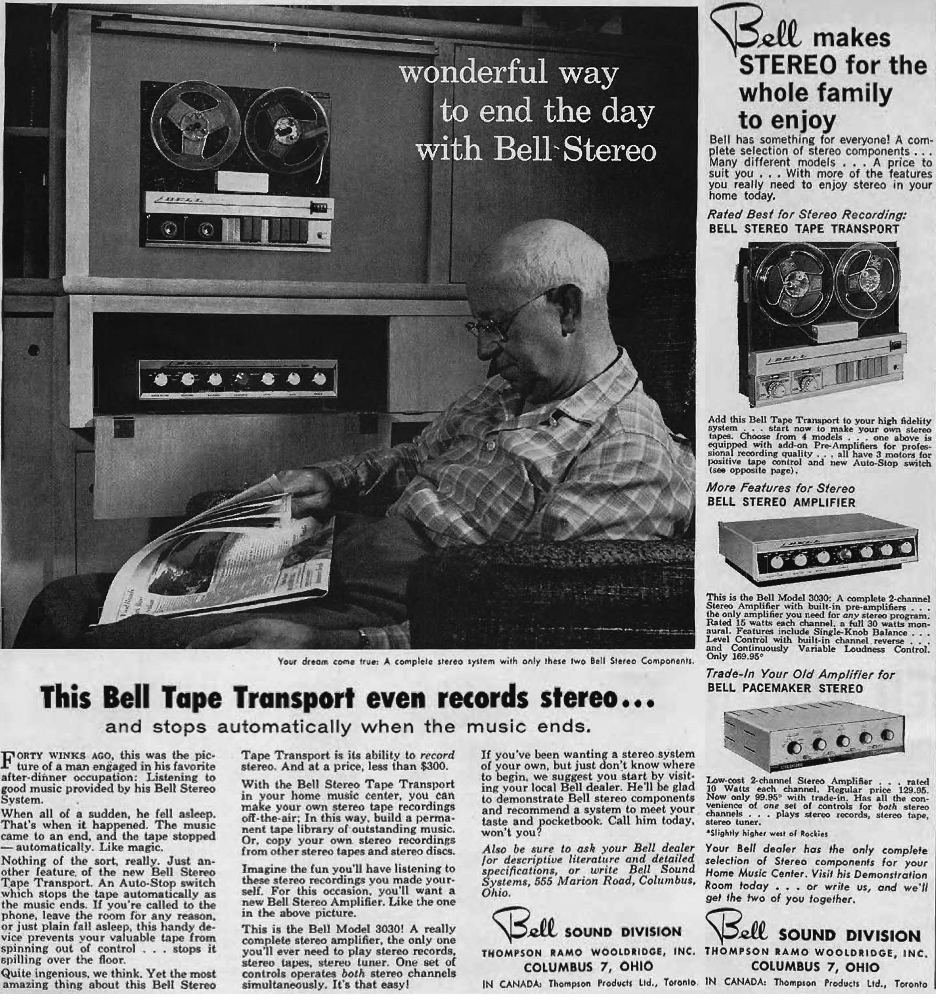1959 Bell ad featuring the Bell auto-stop reel to reel tape recorder in Reel2ReelTexas' vintage recording collection