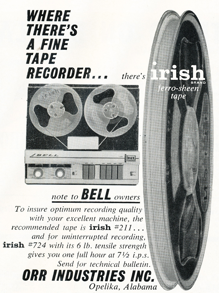 1959 Irish reel to reel recording tape featuring the Bell tape recorder in Reel2ReelTexas' vintage recording collection