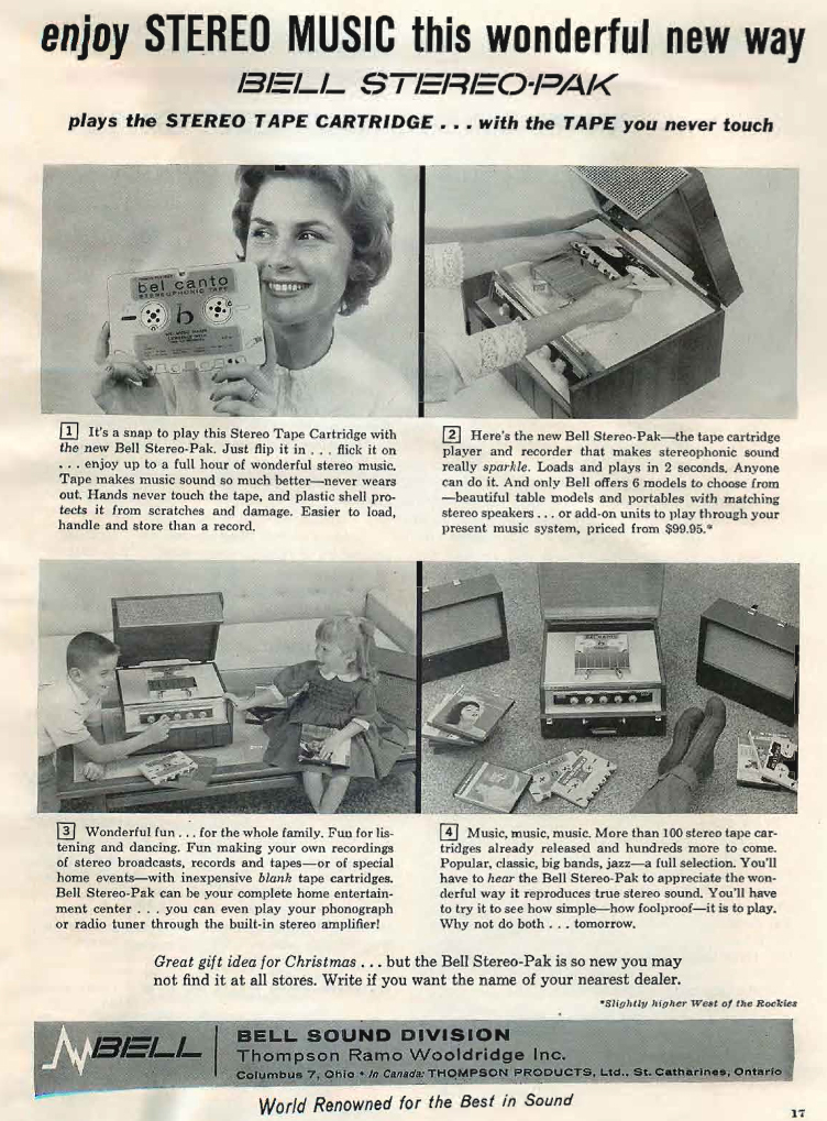 1959 Bell ad featuring the Bell StereoPak cartridgetape recorder in Reel2ReelTexas' vintage recording collection