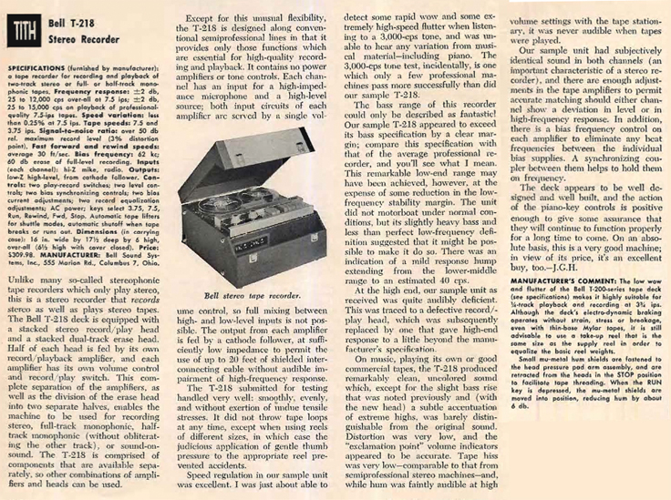 1959 review of the Bell T-216 reel to reel tape recorder in Reel2ReelTexas' vintage recording collection
